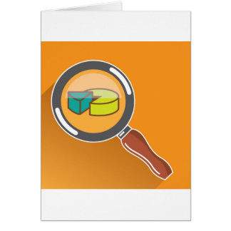 Pie Chart through Magnifying Glass Icon vector Card