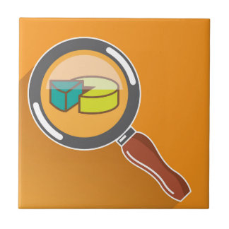 Pie Chart through Magnifying Glass Icon vector Ceramic Tile