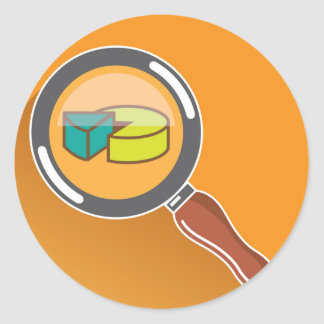 Pie Chart through Magnifying Glass Icon vector Classic Round Sticker