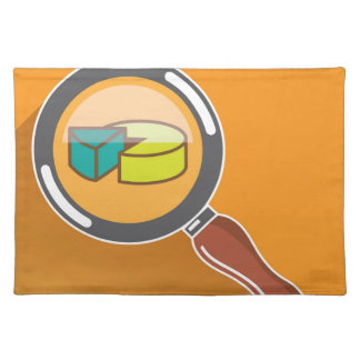 Pie Chart through Magnifying Glass Icon vector Cloth Placemat