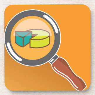 Pie Chart through Magnifying Glass Icon vector Coaster