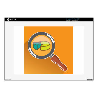 """Pie Chart through Magnifying Glass Icon vector Decals For 15"""" Laptops"""