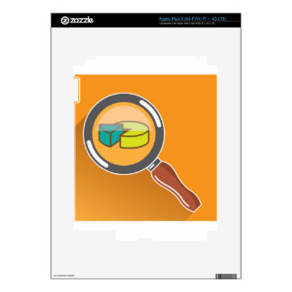 Pie Chart through Magnifying Glass Icon vector Decals For iPad 3