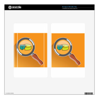Pie Chart through Magnifying Glass Icon vector Decals For Kindle Fire