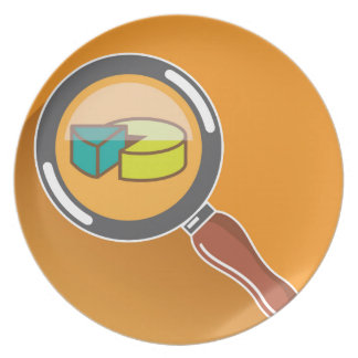 Pie Chart through Magnifying Glass Icon vector Dinner Plate
