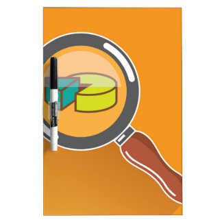 Pie Chart through Magnifying Glass Icon vector Dry-Erase Board