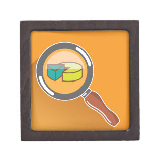 Pie Chart through Magnifying Glass Icon vector Gift Box