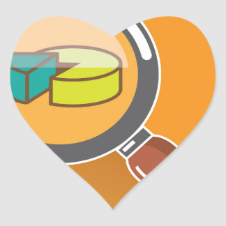 Pie Chart through Magnifying Glass Icon vector Heart Sticker