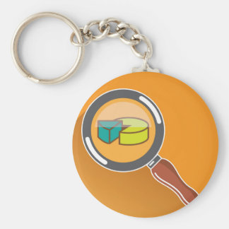 Pie Chart through Magnifying Glass Icon vector Keychain
