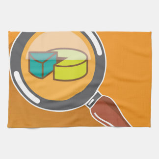 Pie Chart through Magnifying Glass Icon vector Kitchen Towel