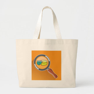 Pie Chart through Magnifying Glass Icon vector Large Tote Bag