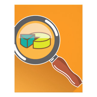 Pie Chart through Magnifying Glass Icon vector Letterhead