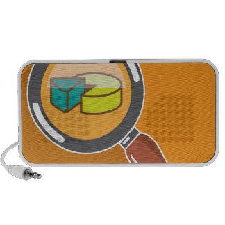 Pie Chart through Magnifying Glass Icon vector Mini Speaker