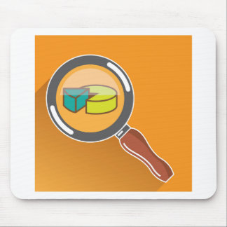 Pie Chart through Magnifying Glass Icon vector Mouse Pad