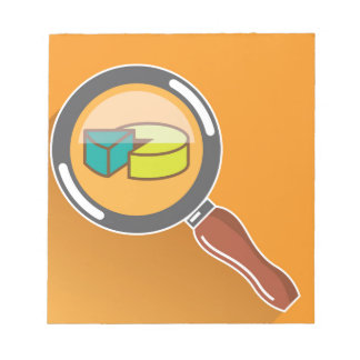 Pie Chart through Magnifying Glass Icon vector Note Pad