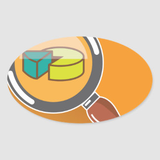 Pie Chart through Magnifying Glass Icon vector Oval Sticker