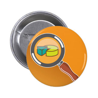 Pie Chart through Magnifying Glass Icon vector Pinback Button