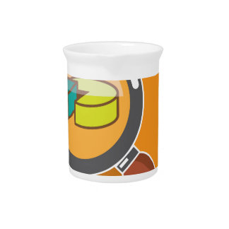 Pie Chart through Magnifying Glass Icon vector Pitcher