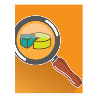 Pie Chart through Magnifying Glass Icon vector Postcard