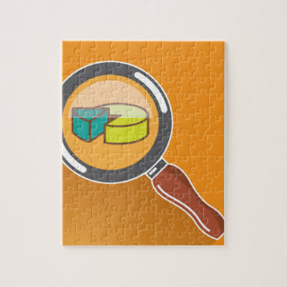 Pie Chart through Magnifying Glass Icon vector Puzzle