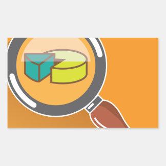 Pie Chart through Magnifying Glass Icon vector Rectangular Sticker