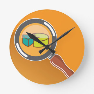 Pie Chart through Magnifying Glass Icon vector Round Clock