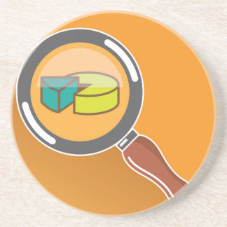 Pie Chart through Magnifying Glass Icon vector Sandstone Coaster