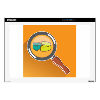 """Pie Chart through Magnifying Glass Icon vector Skins For 17"""" Laptops"""
