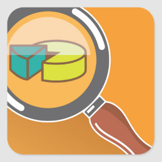 Pie Chart through Magnifying Glass Icon vector Square Sticker