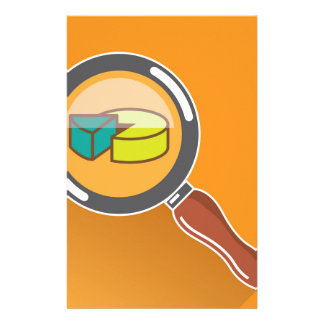 Pie Chart through Magnifying Glass Icon vector Stationery