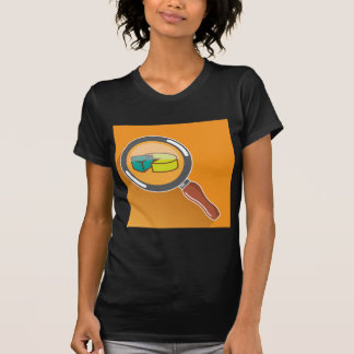 Pie Chart through Magnifying Glass Icon vector Tee Shirt