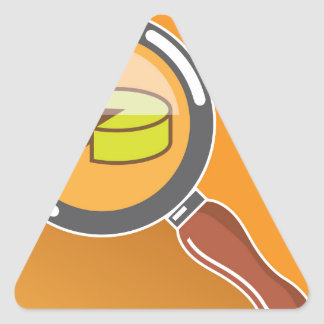 Pie Chart through Magnifying Glass Icon vector Triangle Sticker
