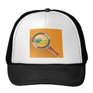 Pie Chart through Magnifying Glass Icon vector Trucker Hat