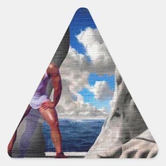 Pie de dioses pegatina triangular