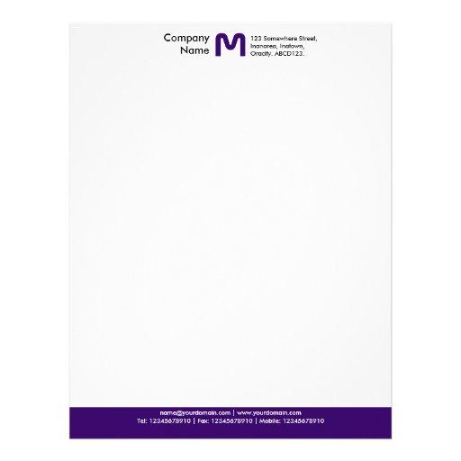 Pie de página del color del monograma - púrpura os plantilla de membrete