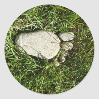 Pie de piedra pegatina redonda