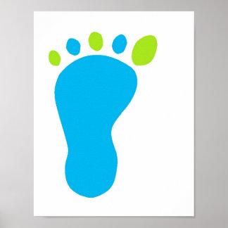 Pie del bebé azul póster