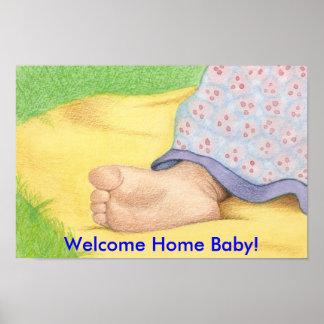¡pie del bebé, bebé casero agradable! póster