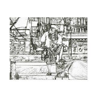 pie del pirata para arriba sobre imagen bosquejada lona estirada galerías