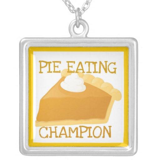 """PIE EATING CHAMPION"" PUMPKIN PIE PRINT NECKLACE"