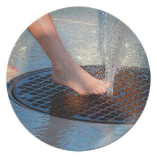 pie en fuente de agua plato de cena