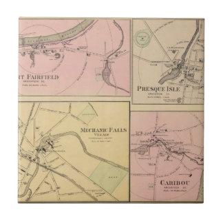 Pie Fairfield, isla de Presque, mapa del caribú Azulejo Cuadrado Pequeño