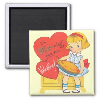 Pie-ning For You Retro Valentine 2 Inch Square Magnet