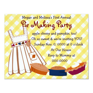 Pie Party 4.25x5.5 Paper Invitation Card