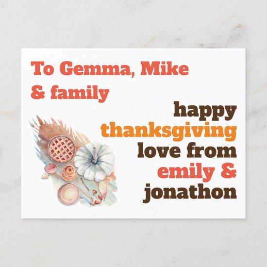 Pie Pumpkin Recipient Name Address Thanksgiving Holiday Postcard