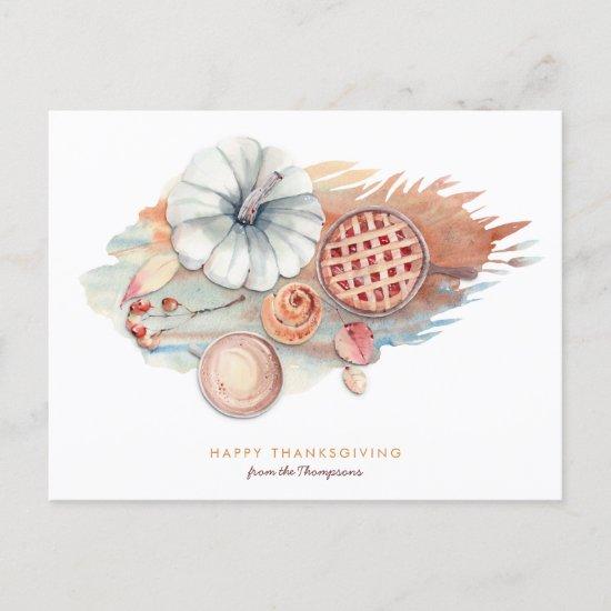 Pie Pumpkin Thanksgiving Scene Contemporary style Holiday Postcard