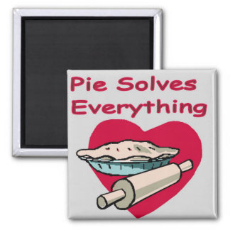 Pie Solves Everything Apron 2 Inch Square Magnet