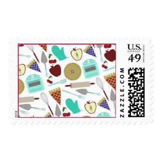 Pie Themed Pattern Postage