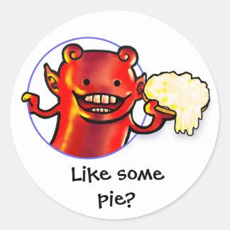 Pie throwing imp round sticker