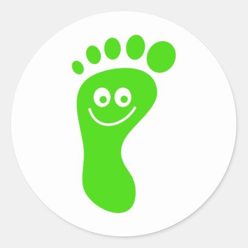 Pie verde feliz pegatina redonda